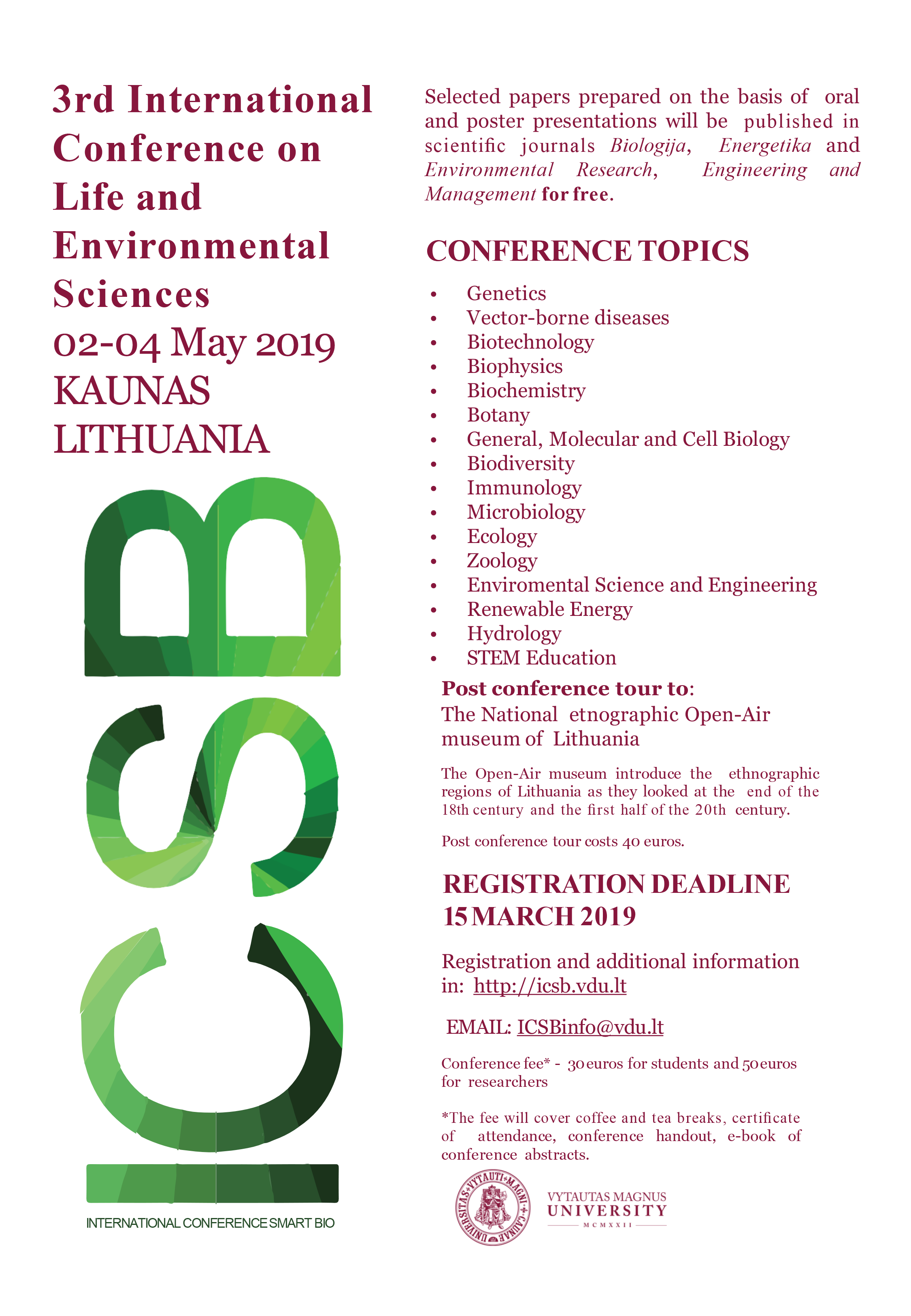 3rd International Conference on Life and Environmental